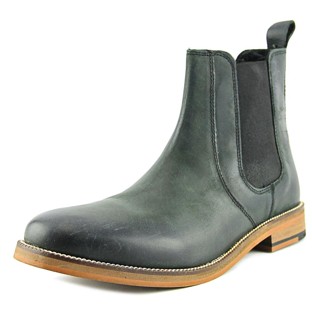 Crevo Denham Men  Round Toe Leather Black Ankle Boot