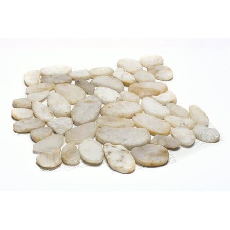 White Pebble Tile - Rainforest White Sliced High-Polish Pebble Stone Floor and Wall Tile 12 in. x 12 in. (5.0 sq. ft. / case)