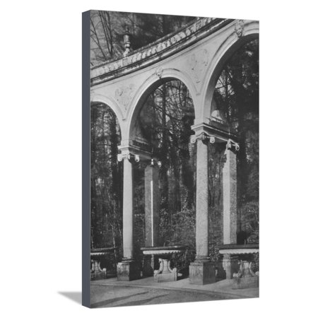 Cd Clarence Fountain - Detail of colonnade and fountains, Temple of Music, Versailles, France, 1924 Stretched Canvas Print Wall Art