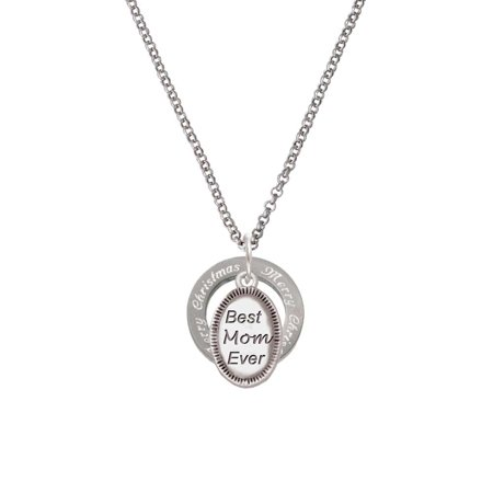 Best Mom Ever Oval Merry Christmas Affirmation Ring Necklace