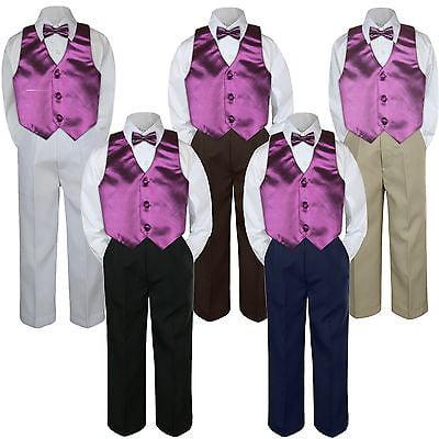4pc Eggplant Plum Vest  Bow Tie Suit Pants Set Baby Boy Toddler Kid Uniform S-7