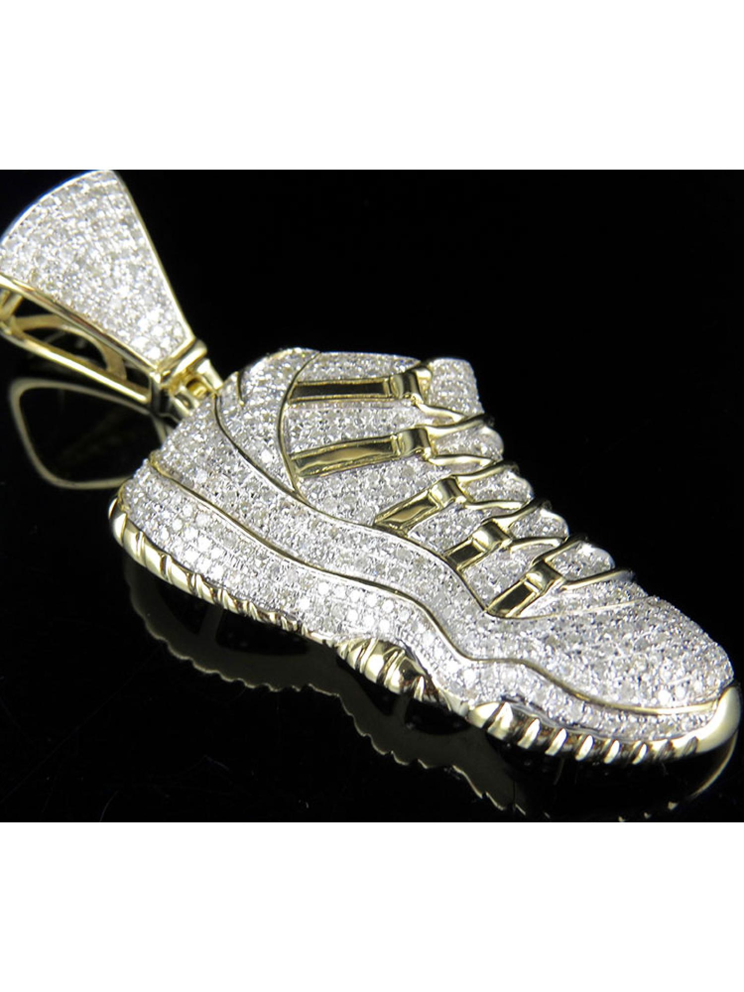 bd904f40230378 ... store mens 10k yellow gold real diamond jordan jumpman shoe pendant  634b2 98576