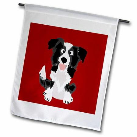 Border Collie Flag - 3dRose Funny Border Collie Puppy Dog Art Polyester 1'6'' x 1' Garden Flag