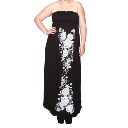 Libian Libian Womens Junior Plus Size Long Embroidered Maxi Dress