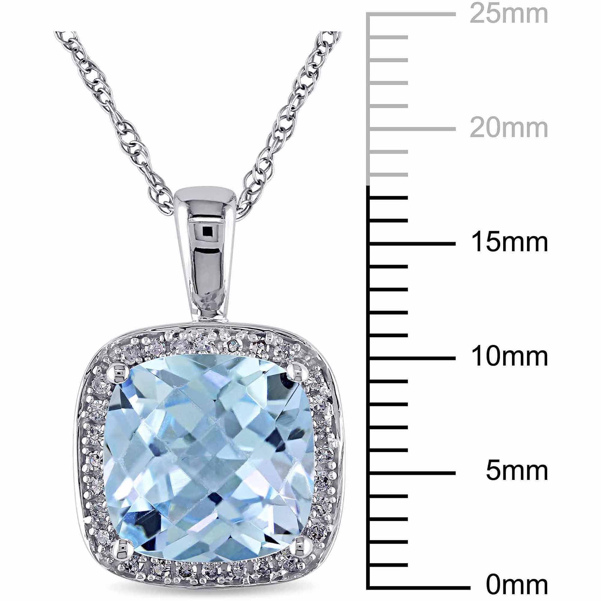 4-1/4 Carat T.G.W. Sky Blue Topaz and Diamond-Accent 10kt White Gold Halo Pendant, 17