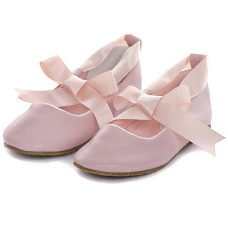 Kids Dream Pink Ballerina Ribbon Tie Rubber Shoe Little Girl 11-3 (Baby Ballerina Shoes)
