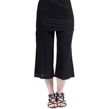 Women's Elastic Waist Stretch Capri Pants (Gray Capris)
