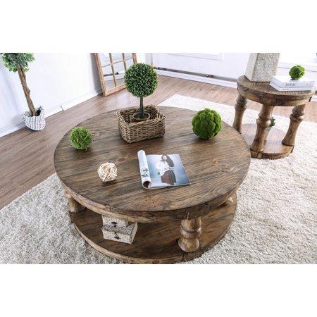 Furniture of America Tanenbaum Rustic Antique Oak Round Coffee Table - Furniture Of America Tanenbaum Rustic Antique Oak Round Coffee Table