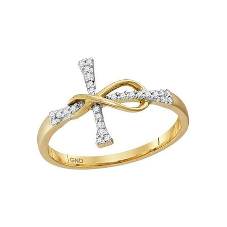 10kt Yellow Gold Womens Round Diamond Cross Infinity Band Ring 1/10 Cttw - image 1 de 1