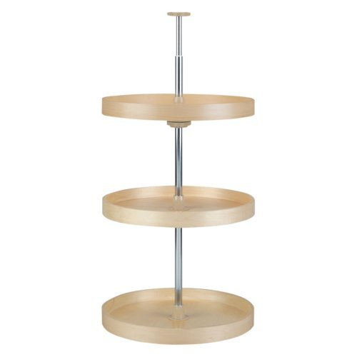 Lazy Daisy Banded Wood Full Circle 3 Tray Lazy Susan Set with 36 Inch Chrome Stand and Hardware