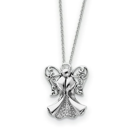 Sterling Silver CZ Antiqued Angel of Strength 18in Necklace and Pendant