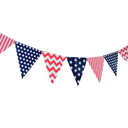 Quasimoon 4th of July Red, White and Blue Triangle Flag Pennant Banner (11FT) by (Happy Birthday On The 4th Of July)