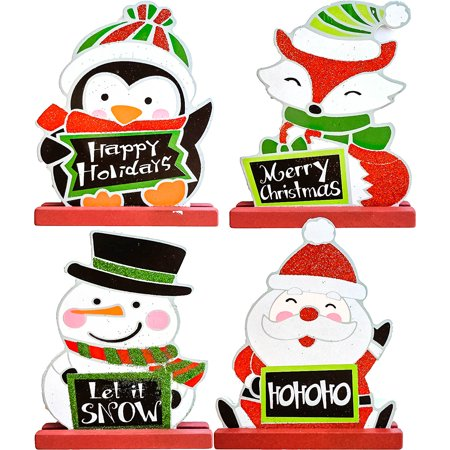 Christmas Character Plaque Set - Set of 4 featuring a Snowman, Santa, a Penguin, & a Fox ()