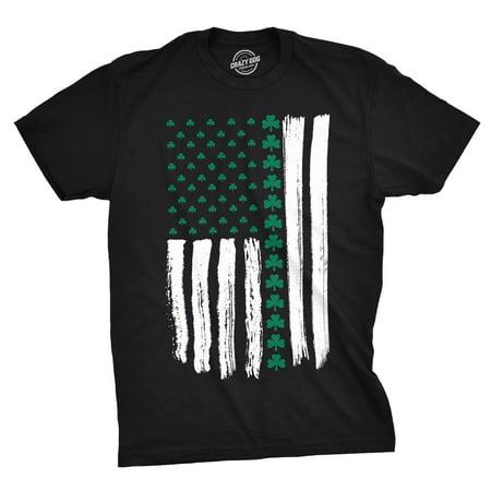 Mens Shamrock USA Flag Tshirt Cute Irish American 4th Of July Tee For Guys (Cute Fourth Of July Shirts)