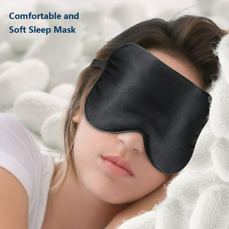 Silk Sleep Mask, Lightweight and Comfortable, Super Soft, Adjustable Contoured Eye Mask for Sleeping, Shift Work, Naps, Best Night Blindfold Eyeshade for Men and Women,