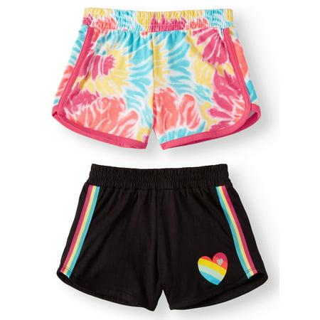 Element Girls Shorts (Wonder Nation Graphic Dolphin Shorts, 2-pack (Little Girls & Big Girls))