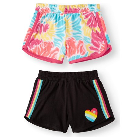 Wonder Nation Graphic Dolphin Shorts, 2-pack (Little Girls & Big Girls)