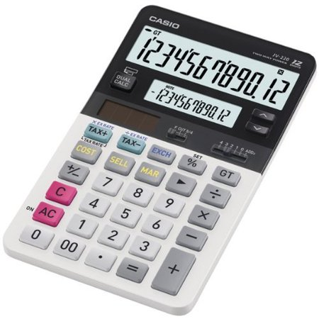 Casio Jv-220 Dual Display Compact Desktop Calculator - 12 Character[s] - Battery/solar Powered (jv-220)