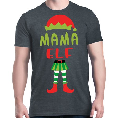 Shop4Ever Men's Mama Elf Costume Funny Christmas Xmas Graphic T-shirt ()