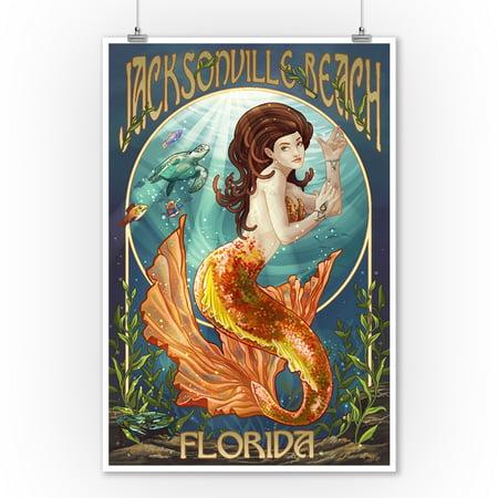 Jacksonville Beach, Florida - Mermaid Scene - Lantern Press Artwork (9x12 Art Print, Wall Decor Travel Poster) - Healthy Halloween Jacksonville Beach