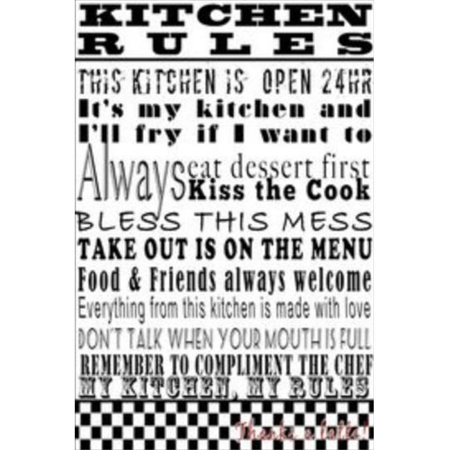Stupell Industries KWP-941 Kitchen Rules White Rect Wall Plaque