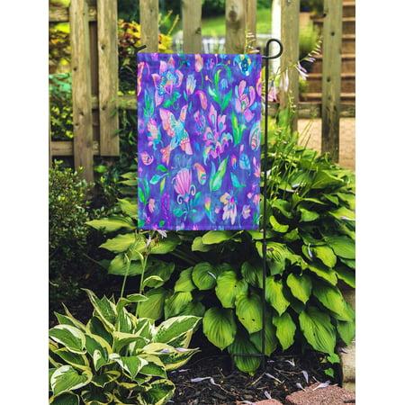 JSDART Fantasy Whimsical Paradise Birds Flowers Natural Floral Flores Curl Millefleurs Garden Flag Decorative Flag House Banner 28x40 inch - image 1 of 2