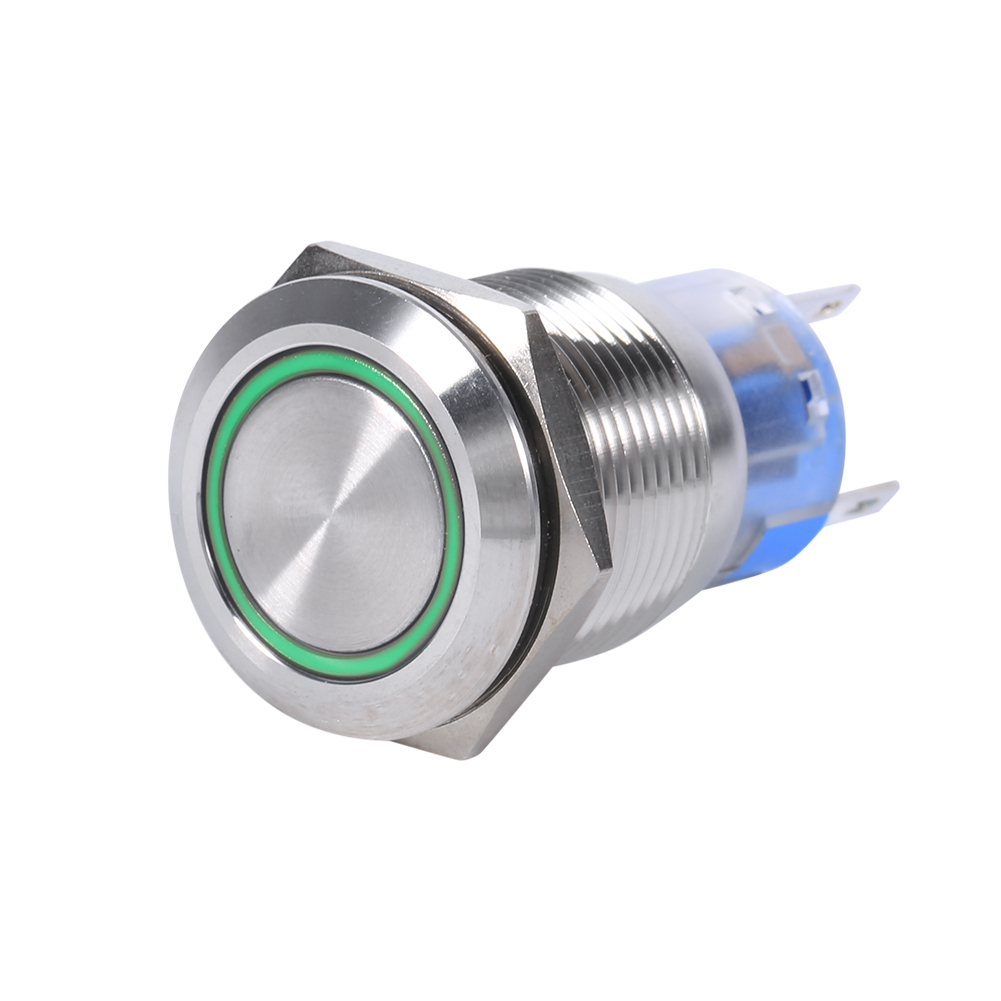 19mm 12V LED Waterproof Stainless Self-locking Latching Push Button Switch,Self-locking Switch, LED Button Switch