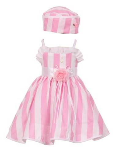 Baby Girls Pink White Vertical Stripe Ruffle Detail Hat Dress 18M