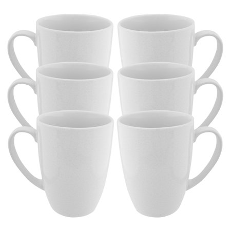 Fuse (6 Pack) White Coffee Mug With Handles Set Glazed Ceramic Mug 15oz Reusable Diner Tea Cup Bulk