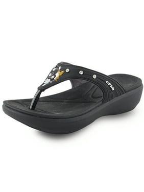 Comfort Memory Foam Padding, Light Weight Flats Low Platform Flip Flops for Women