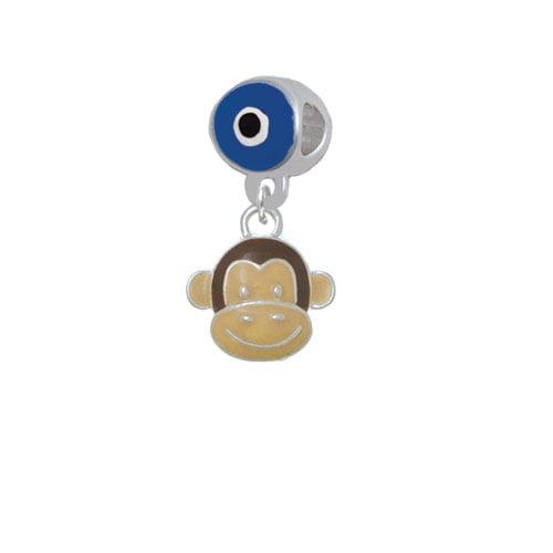 Enamel Monkey Face - Blue Evil Eye Charm Bead