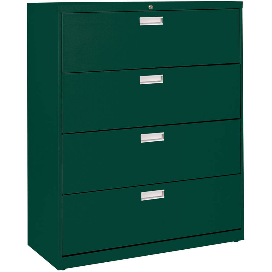 """Sandusky Lee 600 Series 42"""" 4-Drawer Lateral File, Forest Green"""