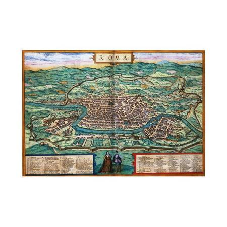 Map of Rome Engraving by Joris Hoefnagel from Civitates Orbis Terrarum Print Wall - Engraved Map