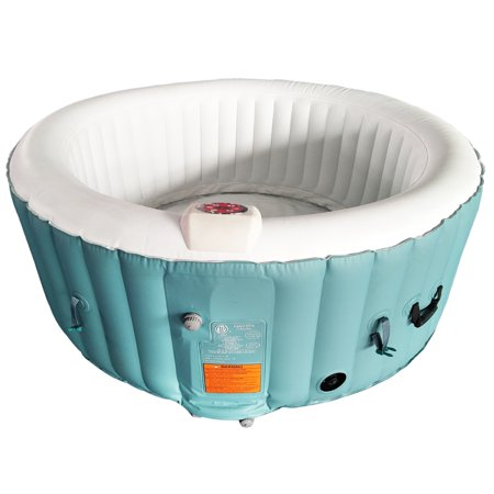 ALEKO Round Inflatable Hot Tub Spa With Cover - 4 Person - 210 Gallon - Light Blue and White