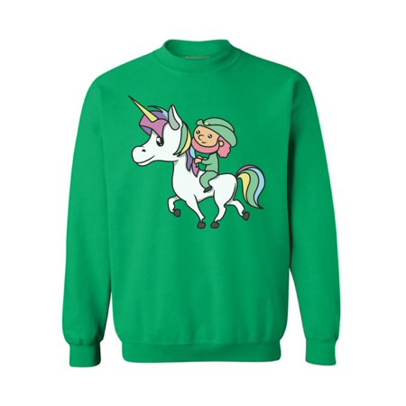Awkward Styles Leprechaun Riding A Unicorn Sweatshirt Funny St. Patrick's Day Sweaters for Men and Women Magical Unicorn Gifts Funny Leprechaun Costume Sweatshirt Lucky Charms Irish American Pride - Mens Funny Costumes