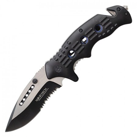 Spring-Assisted Folding Knife | Wartech Black Serrated Blade Rescue Tactical EDC