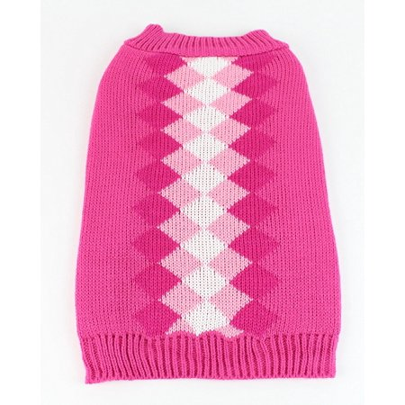 Midlee Argyle Dog Sweater (Large, Pink)