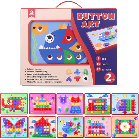 Mobee Button Art Color Matching Mosaic Mushroom Nails Pegboard Puzzle Games with 10 Templates for Kids Sort and Snap Early Learning Educational Toys Children Birthday - Mosaic Button
