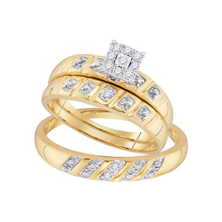 Gold Wedding Band Set - 10kt Yellow Gold His & Hers Round Diamond Cluster Matching Bridal Wedding Ring Band Set 1/8 Cttw