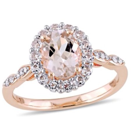 Tangelo 1-3/4 Carat T.G.W. Morganite, White Topaz and Diamond-Accent 14kt Rose Gold Halo Ring Vintage Estate 14k Gold Pearl