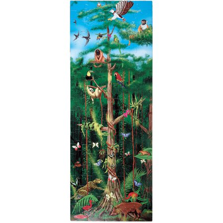 "Melissa & Doug Rainforest Floor Puzzle (Easy-Clean Surface, Promotes Hand-Eye Coordination, 100 Pieces, 48"" L x 18"""