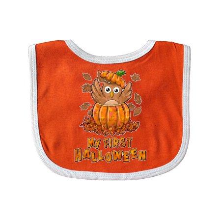 My First Halloween- cute owl in a pumpkin Baby Bib