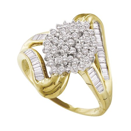 10kt Yellow Gold Womens Round Diamond Cluster Swirl Shank Baguette Ring 1/2 Cttw