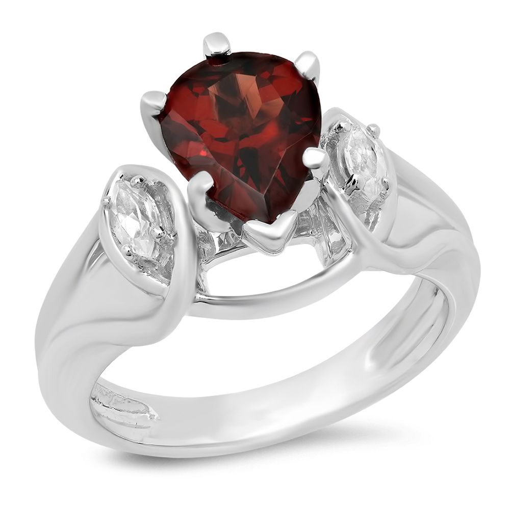 Dazzling Rock 1.75 Carat (ctw) 10K Gold Pear Cut Garnet &...