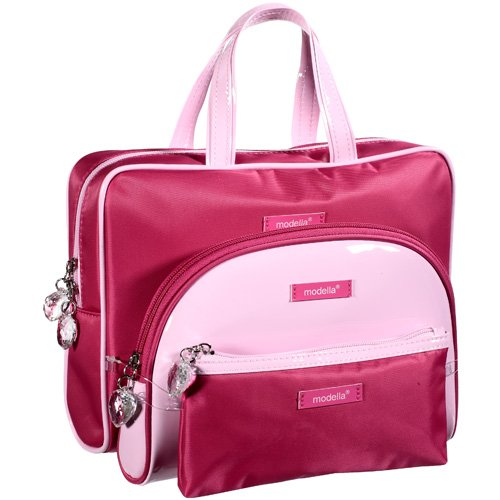 Modella: 3 Pink With Imitation Leather Trim and Handles Cosmetic Organizer Kit