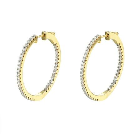 Womens Hoop Huggie Earrings 14k Gold Over Sterling Silver Lab Created Cubic Zirconias 35mm Classy