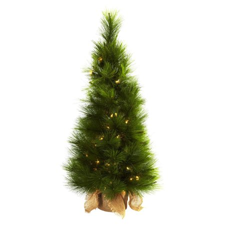 Nearly Natural 3 ft. Pre-lit Christmas Tree with Burlap Bag - Clear Lights - Burlap Flowers Bulk