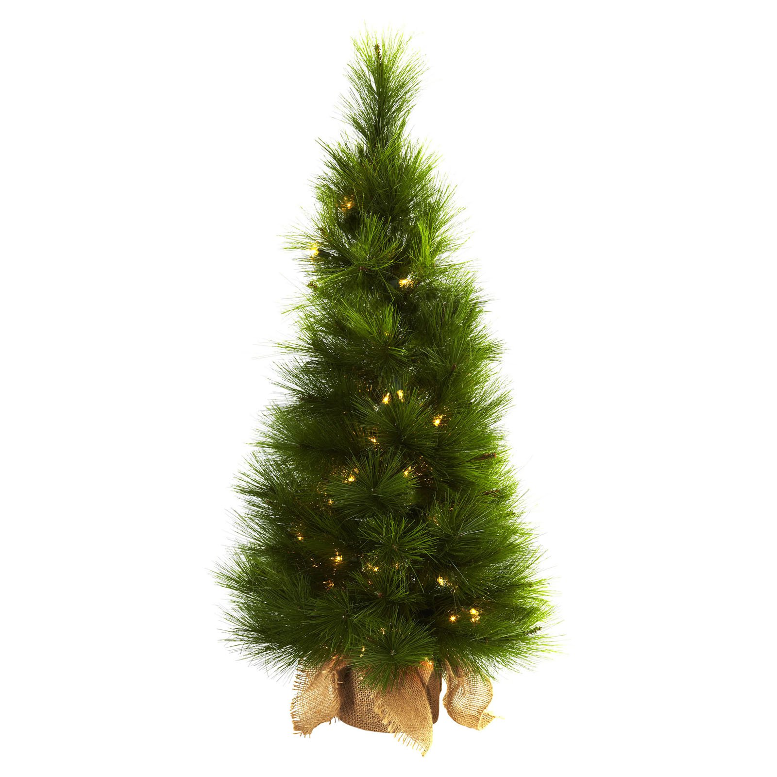 Nearly Natural 3 ft. Pre-lit Christmas Tree with Burlap Bag - Clear Lights