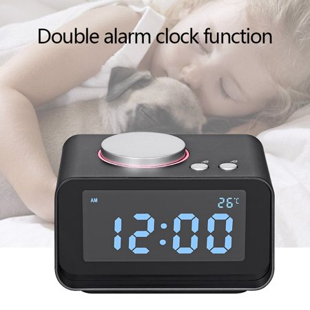 Small Alarm Clock Radio with FM Radio,Dual USB Charging Ports,Temperature Display,Dual Alarms,5 Level Brightness Dimmer,Headphone Jack,Bedrooms Sleep