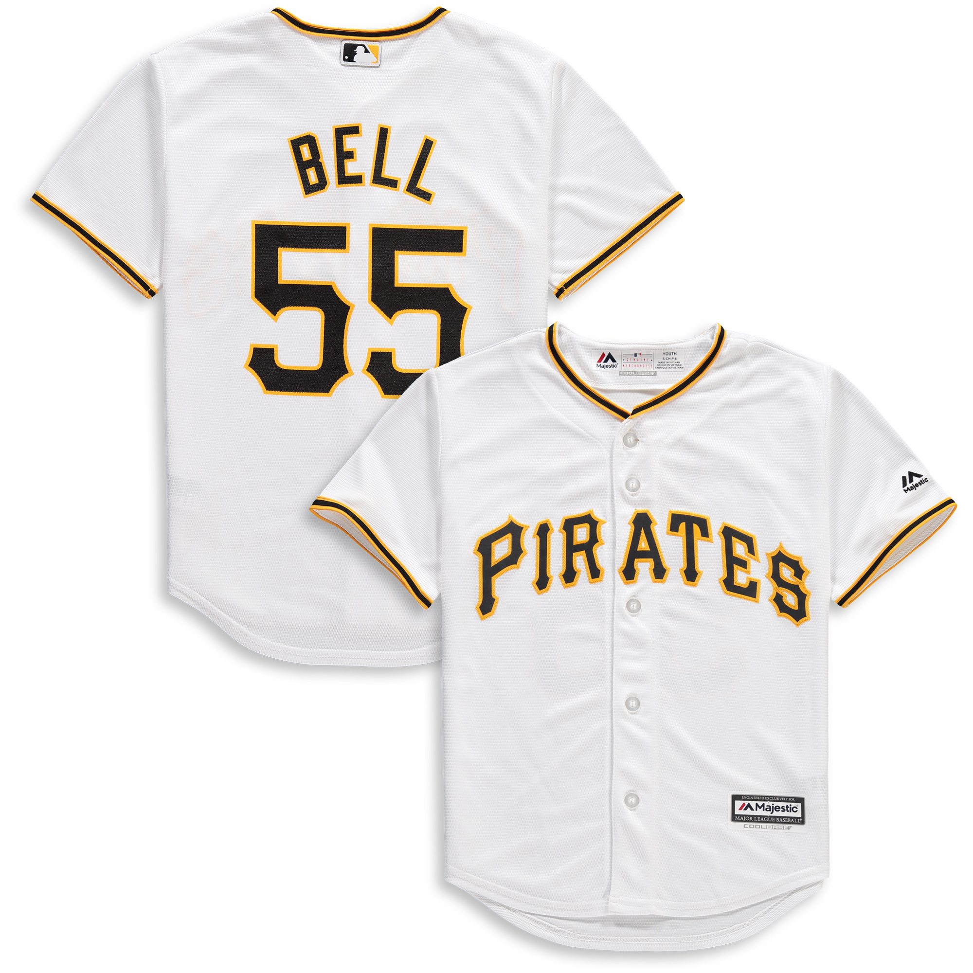 Josh Bell Pittsburgh Pirates Majestic Youth Home Official Cool Base Player Jersey - White